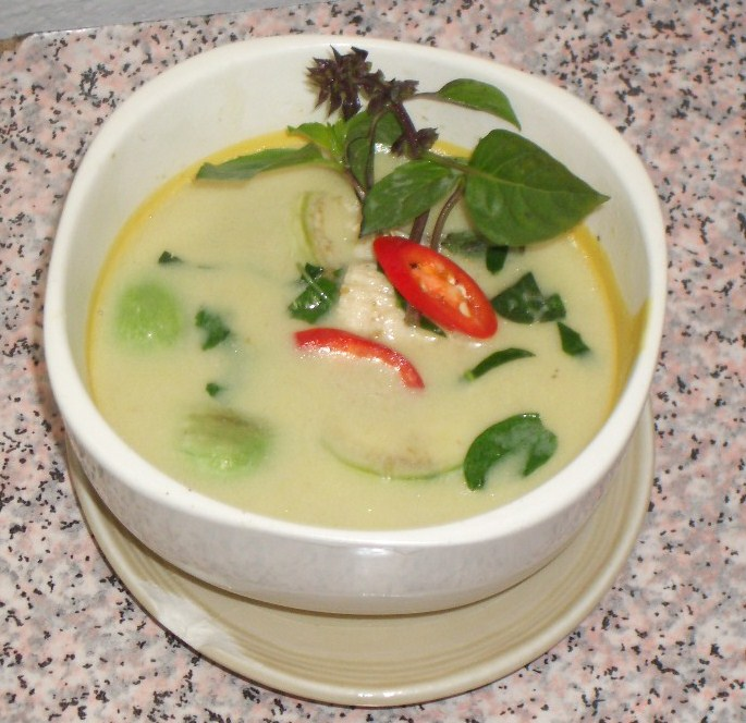 The green Thai coconut curry I made at a cooking class in Thailand