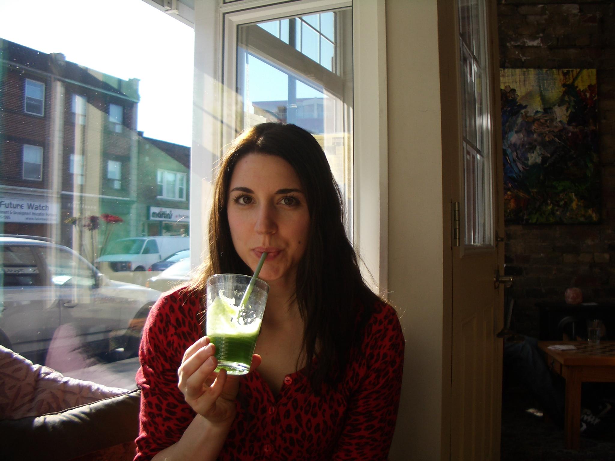 Me drinking my Lean Green juice